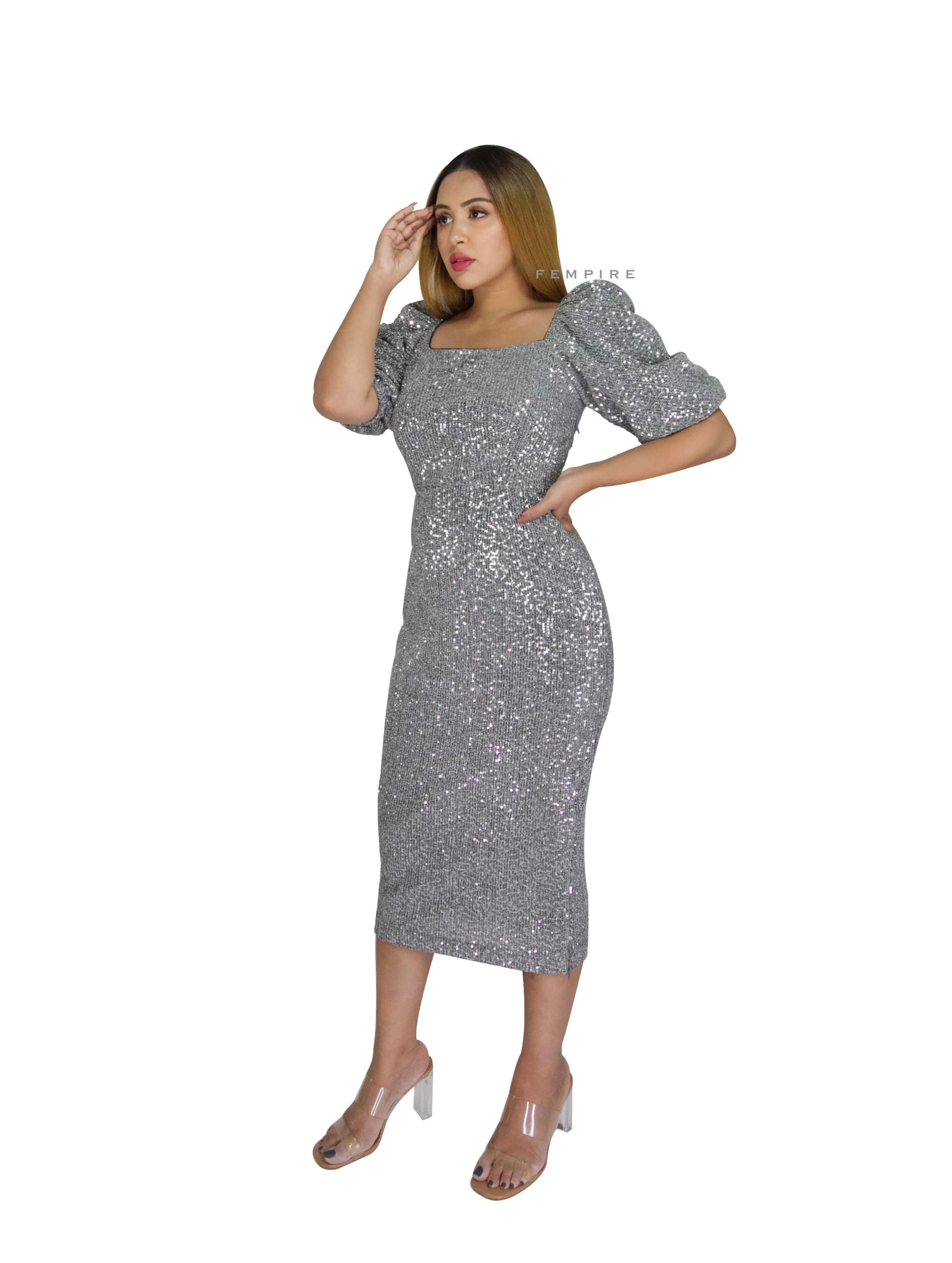 Silver Sequin Body Con Dress